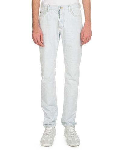 Men's 5-Pocket White-Wash Jeans