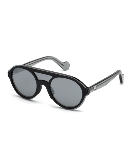 Men's Round Shield Sunglasses, Black/Gray