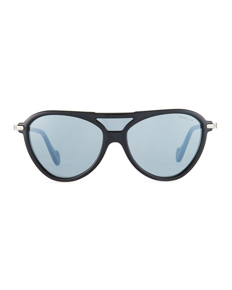 Men's Aviator Shield Sunglasses, Black/Gray