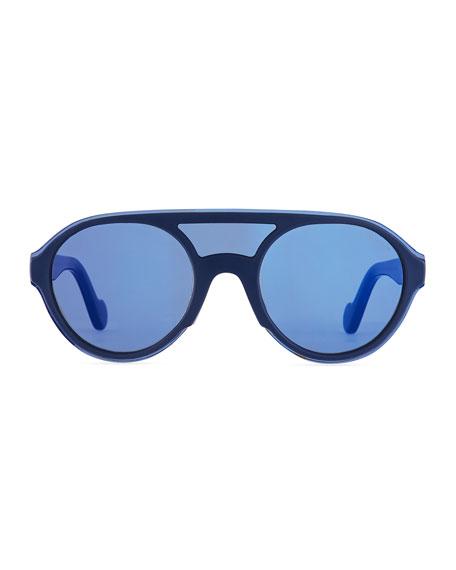 Men's Round Shield Sunglasses, Blue/Gray