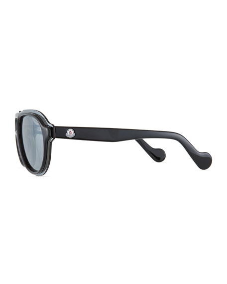 Men's Shield Aviator Sunglasses, Black/Gray
