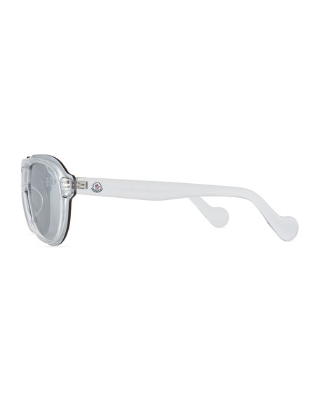 Men's Thick Plastic Shield Aviator Sunglasses, Clear
