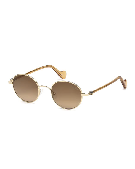 Moncler Men's Round Metal Gradient Sunglasses, Gold