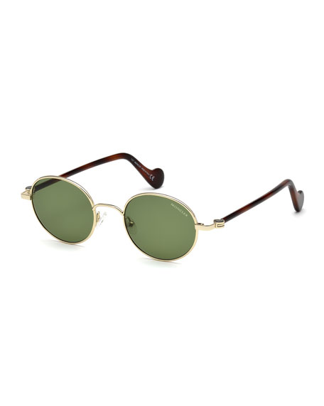 Men's Round Metal Sunglasses, Gold