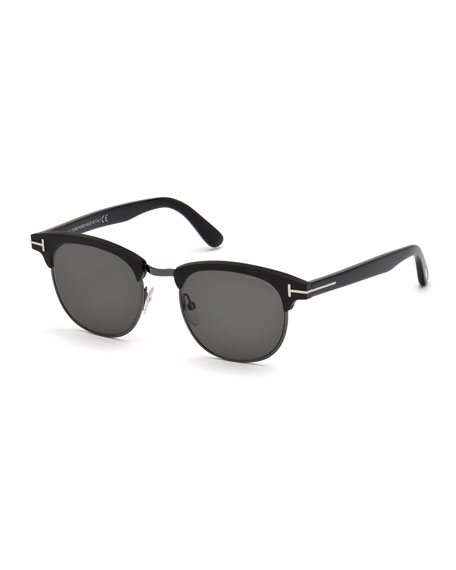 TOM FORD Men's Half-Rim Metal/Acetate Sunglasses - Silvertone