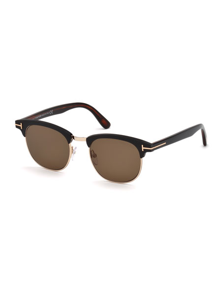 TOM FORD Men's Half-Rim Metal/Acetate Sunglasses - Golden