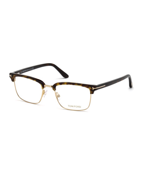 TOM FORD Men's Square Metal/Plastic Half-Rim Optical Glasses