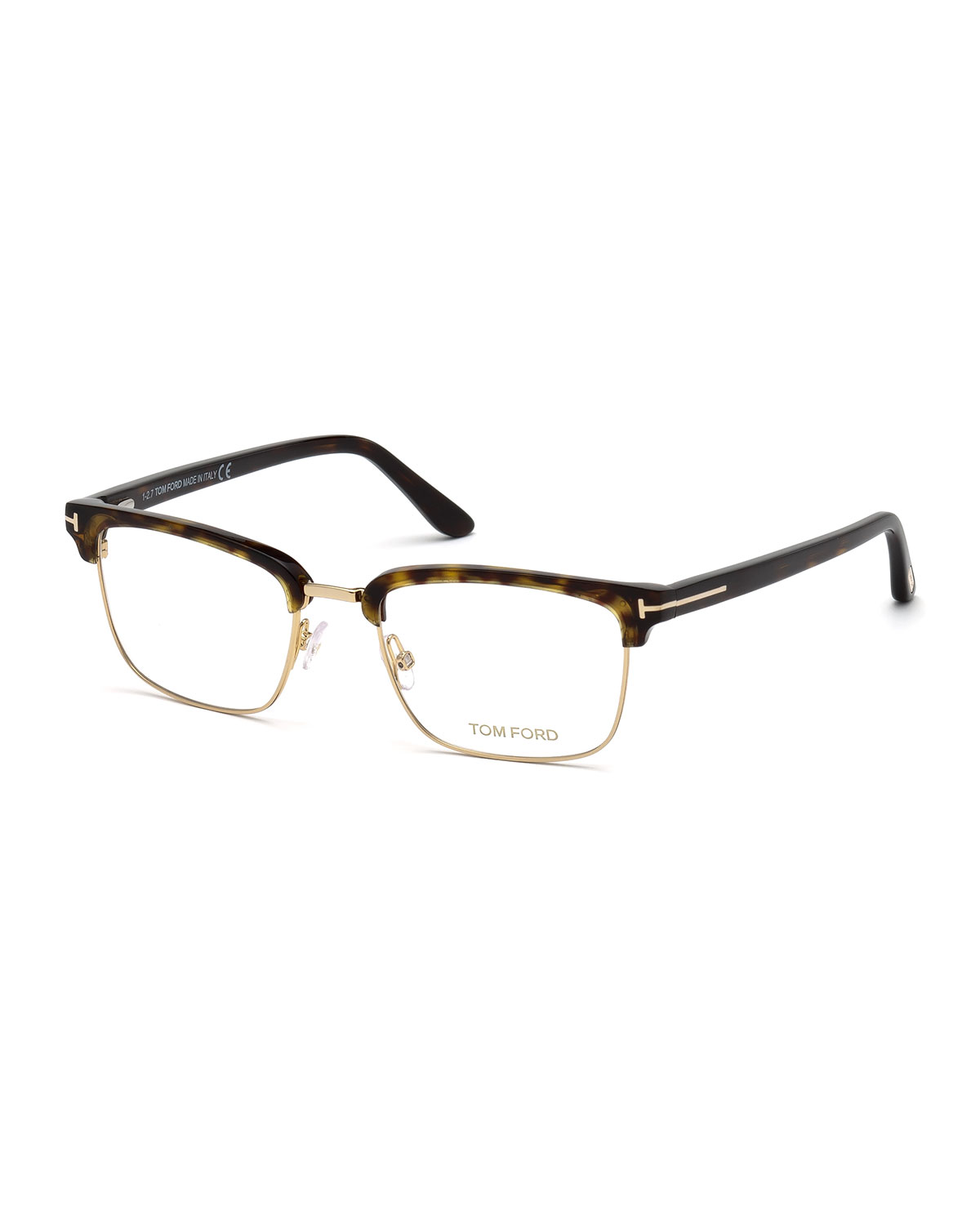 a4ea346df10 TOM FORDMen s Square Metal Plastic Half-Rim Optical Glasses - Golden  Hardware