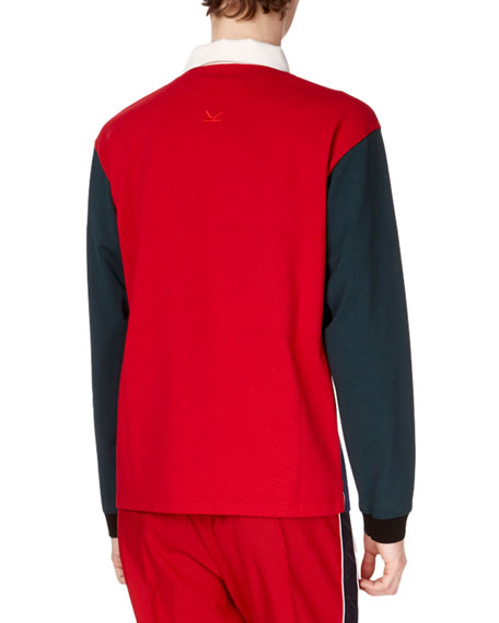 Men's Colorblock Long-Sleeve Rugby Polo Shirt