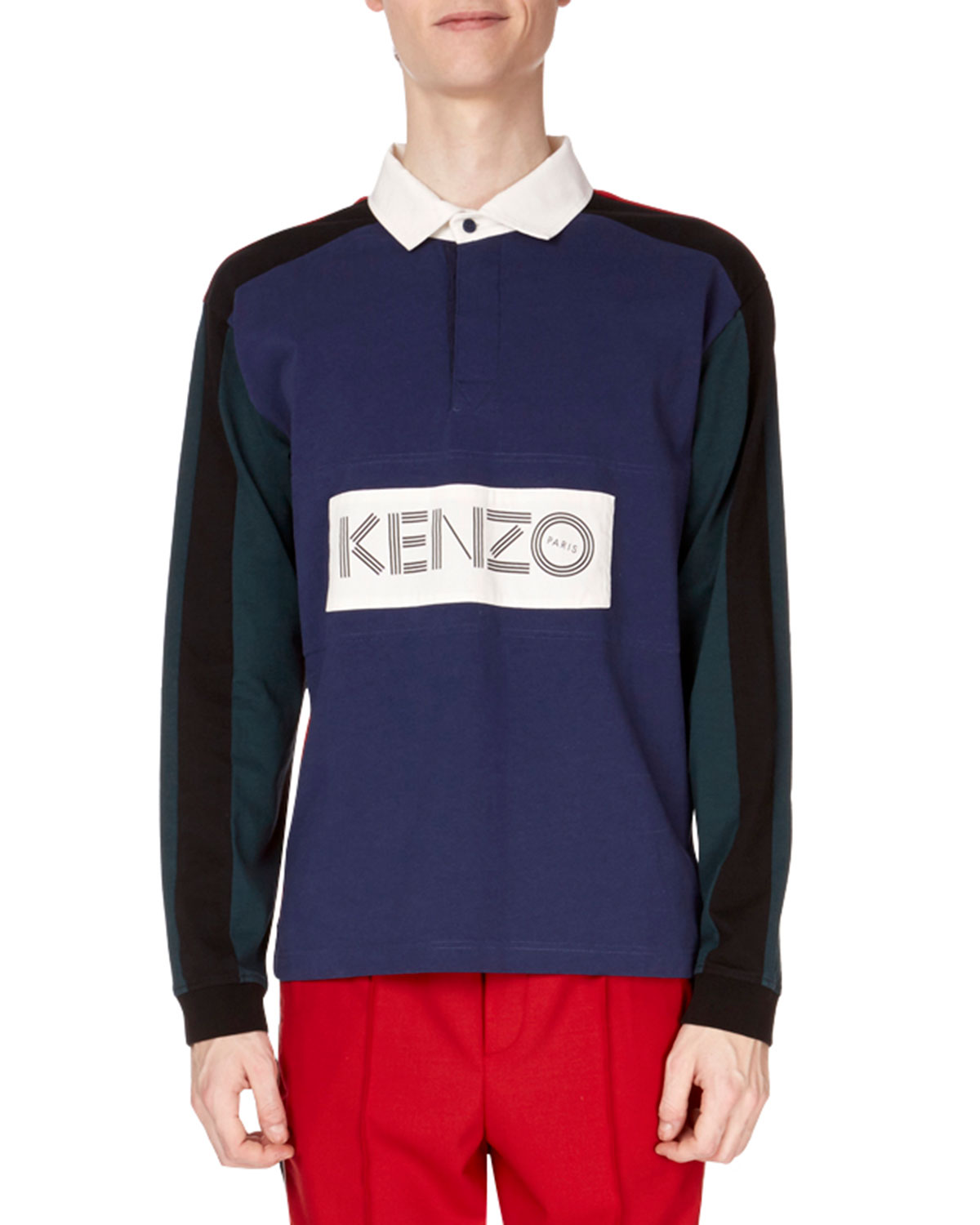 Kenzo Mens Colorblock Long Sleeve Rugby Polo Shirt Neiman Marcus