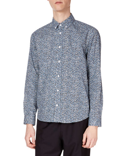 Men's Animal-Print Casual-Fit Sport Shirt