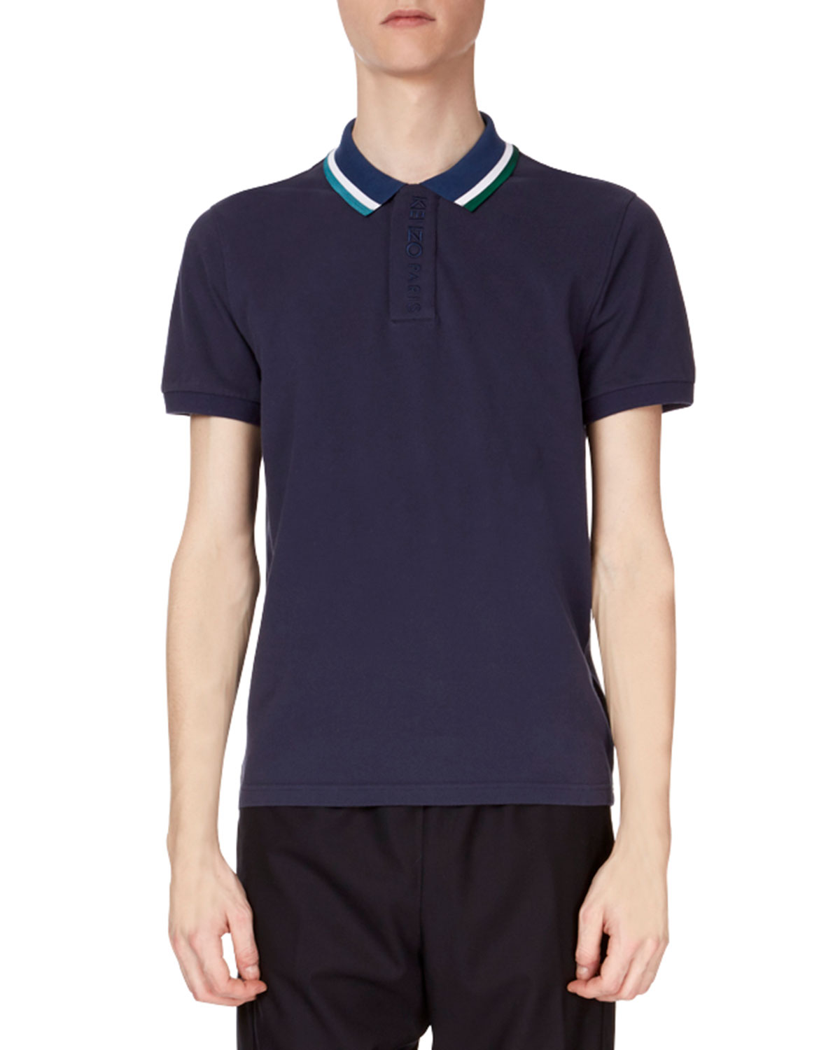Kenzo Mens Placket Embroidered Striped Collar Short Sleeve Polo
