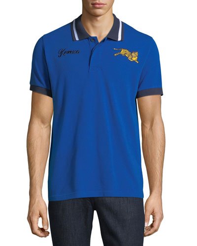 Men's Jumping Tiger Collared Polo Shirt