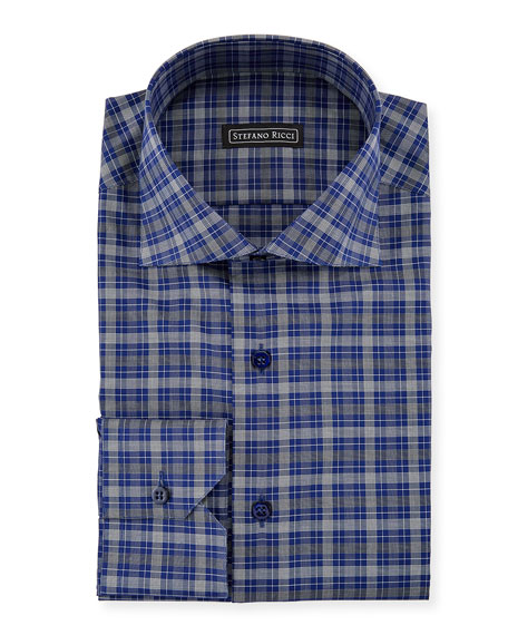 Stefano Ricci Men's Salerno Collar Check Dress Shirt