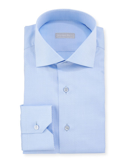 Men's Napoli Collar Tonal-Pattern Dress Shirt