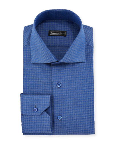 Men's Box-Print Cotton Dress Shirt