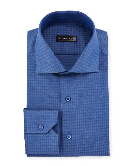 Men's Box-Print Cotton Dress Shirt
