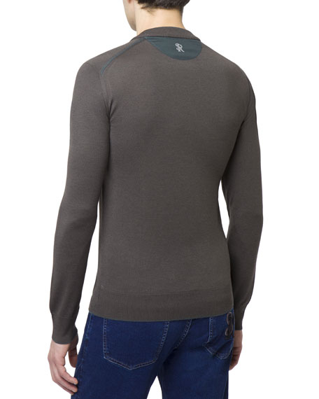 Men's Crewneck Wool-Silk Sweater w/ Silk Shoulder Detail