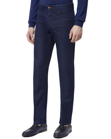 Men's Leather Patch Straight-Leg Jeans