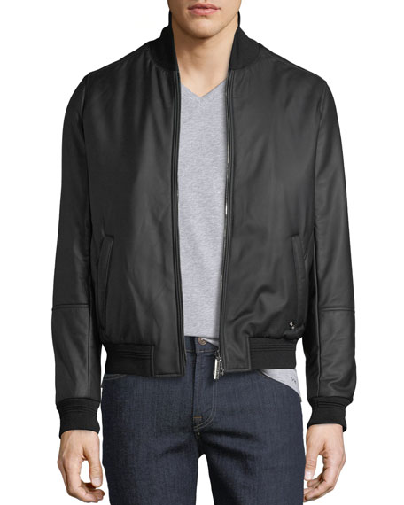 Men's Leather Jacket with Cashmere Trim