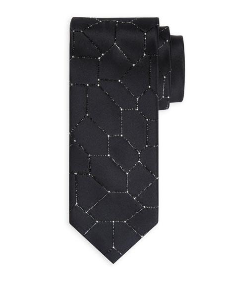 Crystal-Tile Silk Tie
