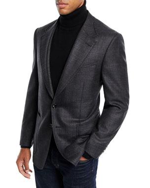 fadbc9859fb TOM FORD Men s Shelton Melange Wool Silk Blazer Jacket