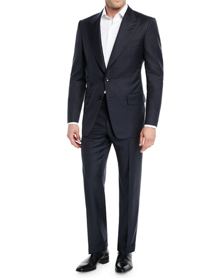 Men's Prince of Wales Plaid Peak-Lapel Two-Piece Suit