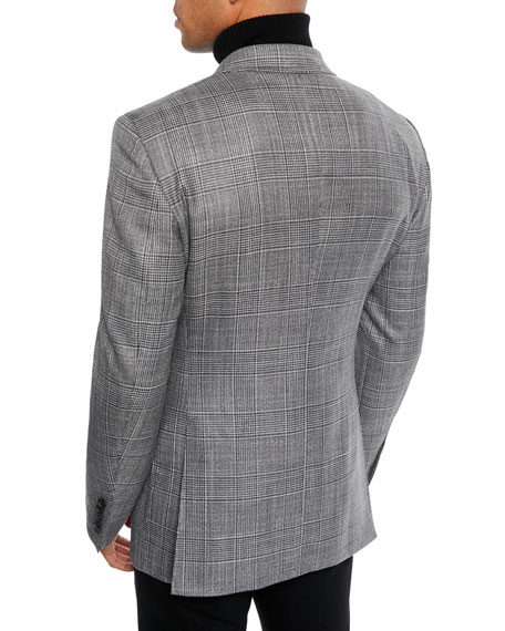 Men's O'Connor Wool-Silk Prince of Wales Plaid Blazer Jacket