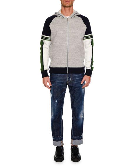 Men's Tricolor Zip-Front Hoodie