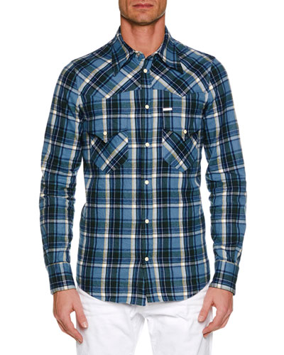 Men's Western-Style Plaid Shirt