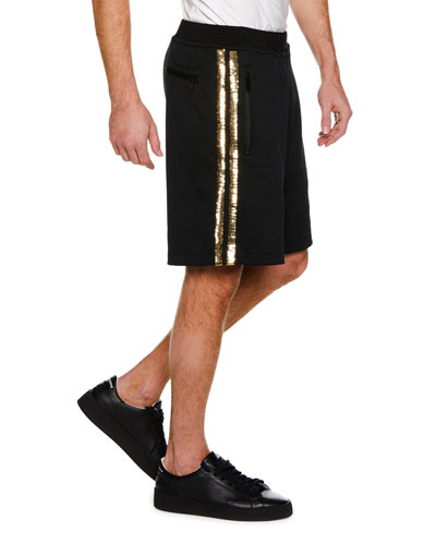 Metallic Side-Stripe Knit Basketball Shorts