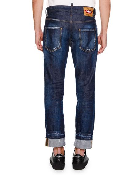 Men's Distressed 5-Pocket Jeans