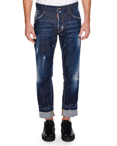 Men's Distressed 5-Pocket Jeans