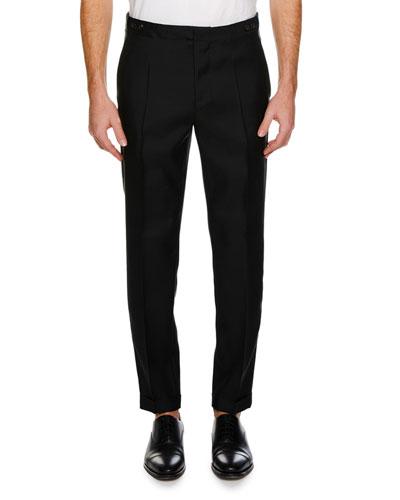 Men's Straight-Leg Formal Wool-Silk Pants