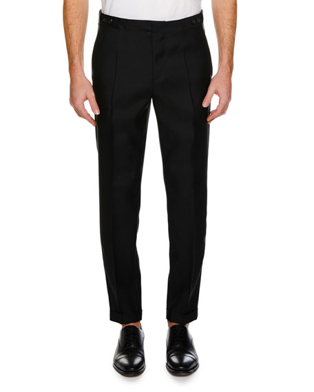 Men's Straight-Leg Formal Wool-Silk Pants