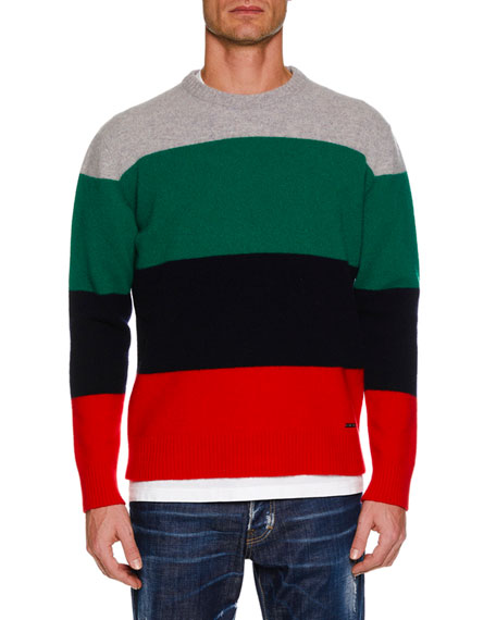 Men's Multicolor Wool Pullover Sweater
