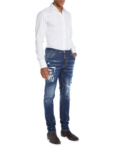 Men's Distressed/Bleached 5-Pocket Jeans