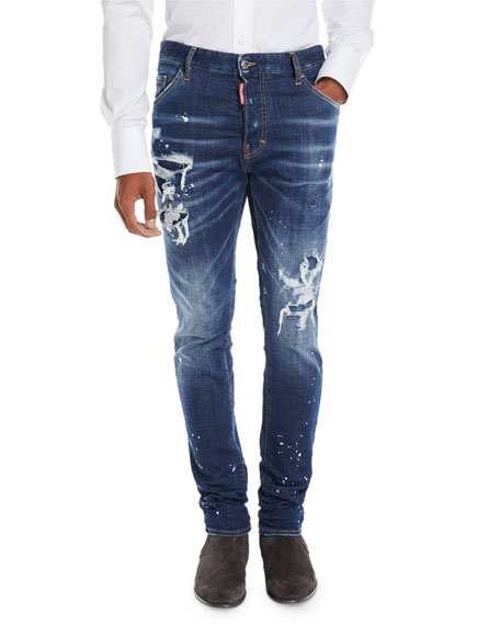 Dsquared2 Men's Distressed/Bleached 5-Pocket Jeans