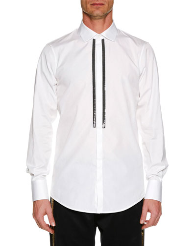 Men's Metallic-Trim Poplin Dress Shirt