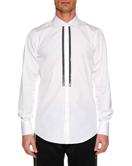 Dsquared2 Men's Metallic-Trim Poplin Dress Shirt