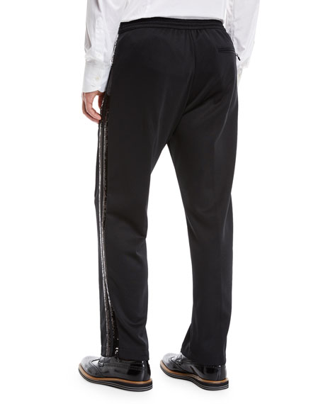 Sequin Side-Striped Track Pants