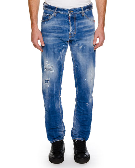 Men's Distressed Slim-Fit Jeans