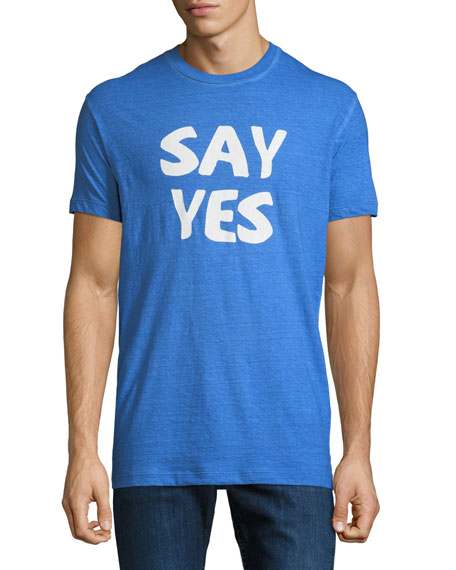 Men's Say Yes Crewneck Short-Sleeve Cotton T-Shirt