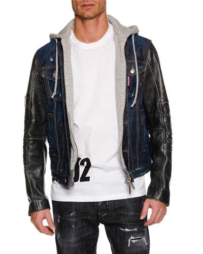 Men's Hooded Denim Jacket w/ Leather Sleeves