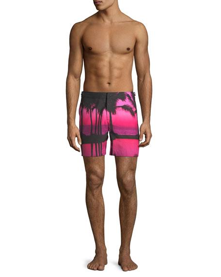 Men's Bulldog Photographic-Print Tailored Swim Trunks