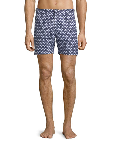 Men's Bulldog x Jacquard Print Swim Trunks