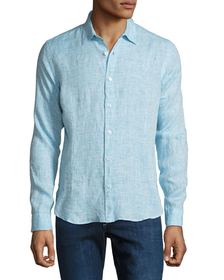 Orlebar Brown Men's Morton Tailored Sport Shirt, Blue