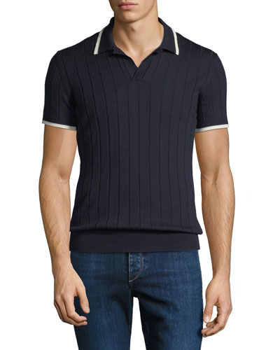 Men's Rushton Rib-Knit Polo Shirt