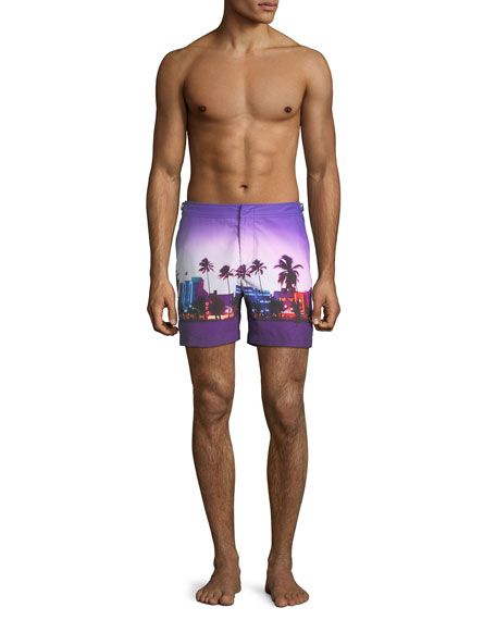 Men's Bulldog Beach Printed Swim Trunks, Miami Beach
