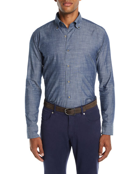 Peter Millar Men's Cotton Denim Sport Shirt